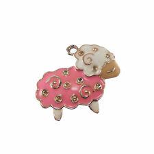 5 pcs Pink Enamel Plated Cute Sheep Look Gold Metal Pendants Charms Findings