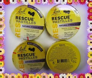 Lot of 4  Bach RESCUE Black Currant  PASTILLES Stress Relief,  4 PACK 10/2021