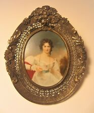 19th C High Quality Miniature Portrait of a Lady--Framed & Signed G. Romney??