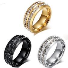 Mens Titanium Double Rhinestone Band Ring Size 6 7 8 9.5 10.5 11.5 13 14 Wedding