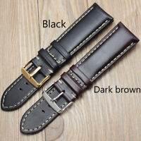 Genuine Leather Vintage Wrist Watch Band Strap 18 19 20 21 22 24mm Metal Buckle