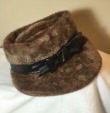 VTG Christian Dior Sz 7 1/4 Brown Faux Fur Leather Band Women Hat Italy 1960s