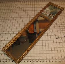 "Vintage Art Deco 8"" x 30"" WALL MIRROR with Print Insert Block - Beautiful!"