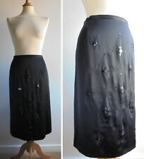 COAST Black Skirt 100% Silk Satin Beaded Embroidered with Side Split Size 16