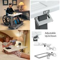 Overbed Table Flat Rolling Bed Adjustable Height Tray Wheelchair Hospital Laptop