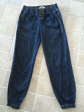 BILLABONG WOMENS BAGGY JEANS, BLUE, SIZE 8, ELASTICATED WAIST AND ANKLES #1185