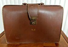 Vintage Brown Leather Bonded? Gladstone Bag Doctors Style Briefcase Attache Case
