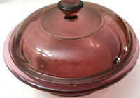 Visions by Corning Pyrex 24 oz 750 ml Cranberry Casserole Dish w Lid Nice