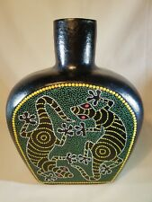 """Beautiful Large Mexican Style Handpainted Vase 11"""" tall by 8 1/2"""" wide"""