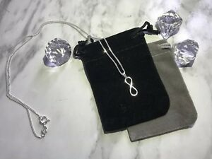 925 Sterling Silver Infinity Necklace With Gift Pouch