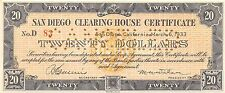 San Diego Clearing House Certificate $20 Series D 3.6.1933  Uncirculated