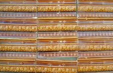 Caramel brown high relief lot 13 bullnose border tiles 6x3 Art Nouveau Majolica