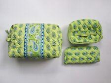 VGC Vera Bradley green elephant 3-Pc Set cosmetic jewelry bag eye glass case