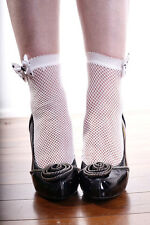 WHITE Nylon Fishnet Ankle Socks with BLACK POKKA DOT BOW AUSSIE SELLER