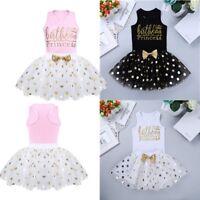 2pcs Baby Girl Birthday Princess Party Outfit Shirt + Polka Dots Tutu Skirt Set
