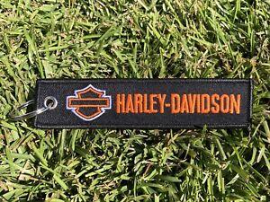 Harley Davidson Key Chain Tag Racing Biker Motorcycle Embroidered Holder Strap