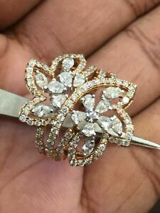 Solid 585 14K Gold 2.05 Cts Round Marquise Pear Shape Natural Pave Diamonds Ring