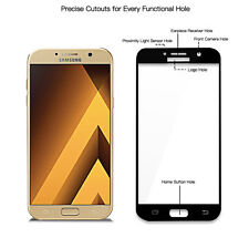 Full Cover Tempered Glass Screen Protector Black for Samsung Galaxy A7 2017 3d