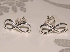 925 Sterling Silver Infinity Ear studs Earrings Solid Silver Ladies, Girls Boxed