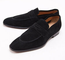 NIB $950 SUTOR MANTELLASSI Black Calf Suede Penny Loafers US 7 D Shoes