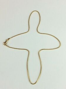 """18ct 18k 750 Yellow Gold """"Box"""" Chain 16'' 40cm Necklace Available Worldwide"""
