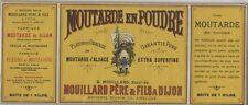 """""""MOUTARDE G. MOUILLARD"""" Etiquette d'intérieur originale Chromo-litho  39x16cm"""