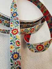 Floral multi color Woven Trim  3/4 inch wide by the by the yard