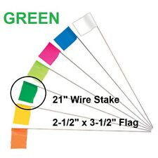"Keson 21"" Wire Surveyor Stake w/ 2.5"" x 3.5"" GREEN Marking Flag, 100-Pack STK21G"