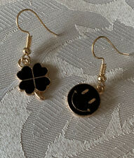 Handmade Fashion Jewelry Charms Gold Dainty Earring Clover Smiley Face Gifts