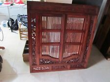 LARGE BALINESE HAND CARVED PRISON DOOR MIRROR, 120 x 130 cm