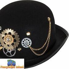 Steampunk Bowler Black Hat Brass Cogs Historical Adults Fancy Dress Accessory