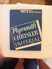 1973  MOPAR Plymouth Chrysler Imperial body service manual  PARTS CATALOG BOOK
