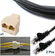 2x 5m RJ45 Cat5e Ethernet Network LAN Patch Cable + RJ45 Internet Lead Splitter