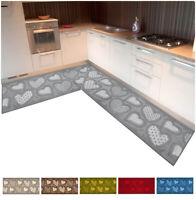 Tappeto cucina angolare passatoia su misura al metro tessitura 3D cuori bordata