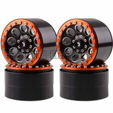 "4P Aluminum 2.2"" Beadlock Wheel Rim BLACK-ORANGE Rock Crawler Axial Traxxas HPI"