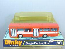 """DINKY TOYS MODEL No.283 A.E.C.SINGLE DECKER BUS """"RED ARROW"""" (BLUE INTERIOR) MIB"""