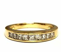 14k yellow gold .45ct womens  SI1 H princess diamond wedding band ring estate