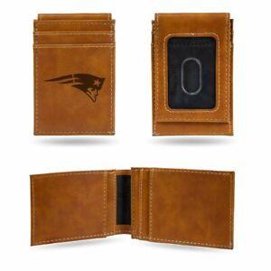 New England Patriots Laser Engraved Brown Front Pocket Wallet/Money Clip