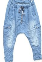Harems Jeans Hose STRETCH Italy Größe 40-44 Damen Haremshose Baggy hellblau NEU