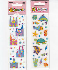 Lot of Two Sandylion Shimmers Sticker Packs NIP Castle Starfish Shell Coral Fish