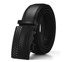 Men's Stylish Barbados Leather Solid Buckle Belt with Automatic Ratchet - New