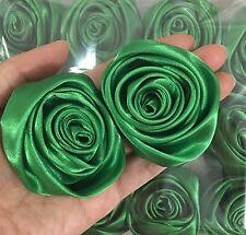 "Lot 12pc Green Satin Ribbon Rose Flowers Craft DIY Wedding Bouquet 50mm / 2"""