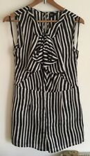 dcf529044f2 ASOS Ladies Black   White Faux Silk Striped Frill Shorts Playsuit Size 12