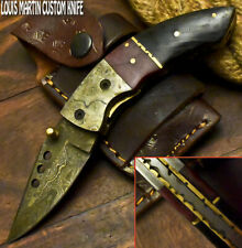 LOUIS MARTIN CUSTOM HANDMADE DAMASCUS ART HUNTING FOLDING KNIFE LINER LOCK