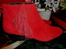 """KELSI DAGGAR RUSTED IRON SUEDE WITH FRINGE ANKLE BOOTS 2"""" HEELS 10M. XLNT COND."""