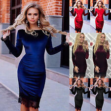 Womens Bodycon Bandage Evening Party Dress Ladies Winter Velvet Lace Dress 6-18