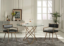 NEW Modern Design 5pcs Dining Room Furniture Round Glass Table & Chairs Set ICVO