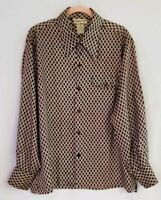 Vintage Mens OLEG CASSINI Shiny Brown White Geometric Long Sleeve Shirt  Size XL
