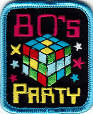 """80""s PARTY"" - PARTY - CELEBRATION  - RETRO - IRON ON EMBROIDERED PATCH"