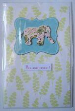 carte postale neuve relief décor 3D BON ANNIVERSAIRE enfant ELEPHANT